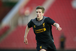 STOKE-ON-TRENT, ENGLAND - Wednesday, May 1, 2013: Liverpool's Ryan Kent in action against Stoke City during the Premier League Academy match at the Britannia Stadium. (Pic by David Rawcliffe/Propaganda)