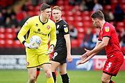 Walsall FC goalkeeper Liam Roberts (1) and Walsall FC defender Luke Leahy (3) during the EFL Sky Bet League 1 match between Walsall and Barnsley at the Banks's Stadium, Walsall, England on 23 March 2019.