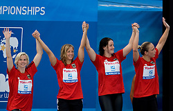 Third placed team of Germany (STEFFEN Britta, MEHLHORN Annika,  POEWE Sarah and SAMULSKI Daniela) at the victory ceremony after the Women's  4x 100m Medley Relay Final during the 13th FINA World Championships Roma 2009, on August 1, 2009, at the Stadio del Nuoto,  in Foro Italico, Rome, Italy. (Photo by Vid Ponikvar / Sportida)