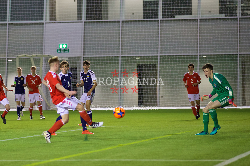 EDINBURGH, SCOTLAND - Tuesday, November 1, 2016: Wales' Isaak Davies scores his side's first goal against Scotland to make the score 2-1 during the Under-16 2016 Victory Shield match at ORIAM. (Pic by David Rawcliffe/Propaganda)
