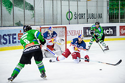Roland Kaspitz of Olimpija and Alexander Pallestrang of EC RBS during ice-hockey match between HDD Tilia Olimpija and EC Red Bull Salzburg in EBEL league, on January 10, 2016 at Hala Tivoli, Ljubljana, Slovenia. Photo by Morgan Kristan / Sportida