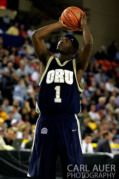 25 November 2005: ORU junior, Ken Tutt takes a technical four free throw in the 70-73 Oral Roberts University loss to Marquette University at the Great Alaska Shootout in Anchorage, Alaska