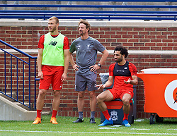 ANN ARBOR, USA - Friday, July 27, 2018: Liverpool's Ragnar Klavan, head of fitness and conditioning Andreas Kornmayer and Mohamed Salah during a training session ahead of the preseason International Champions Cup match between Manchester United FC and Liverpool FC at the Michigan Stadium. (Pic by David Rawcliffe/Propaganda)