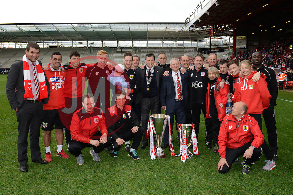 The back room staff celebrate winning the league - Photo mandatory by-line: Dougie Allward/JMP - Mobile: 07966 386802 - 03/05/2015 - SPORT - Football - Bristol - Ashton Gate - Bristol City v Walsall - Sky Bet League One