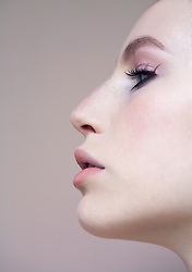 Close up profile of beautiful young woman