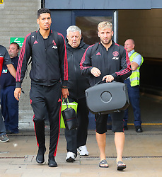 Chris Smalling and Luke Shaw is spotted at the Manchester Airport, UK as the Manchester United Football Club return from their USA Pre-Season tour on July 1, 2018.