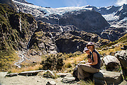 Cindy and Katrina enjoying the views from the floor of the Rob Roy Glacier Valley.