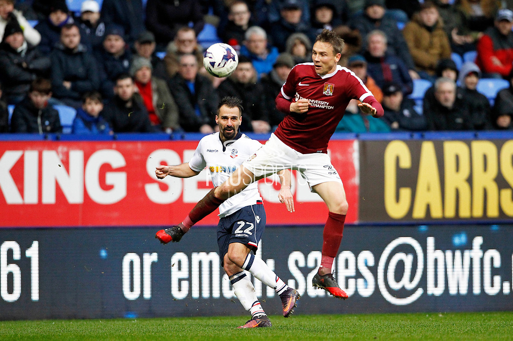 Bolton Wanderers Filipe Morais (22) gets the cross in during the EFL Sky Bet League 1 match between Bolton Wanderers and Northampton Town at the Macron Stadium, Bolton, England on 18 March 2017. Photo by Craig Galloway.