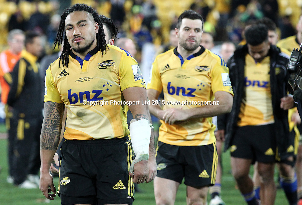 Hurricanes' Ma'a Nonu & James Marshall head on-stage to receive runners up medals during the Super Rugby Final, Hurricanes v Highlanders. Westpac Stadium, Wellington, New Zealand. 4 July 2015. Copyright Photo.: Grant Down / www.photosport.nz
