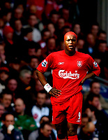 Photo. Jed Wee, Digitalsport<br /> Liverpool v Tottenham Hotspurs, Barclays Premiership, 16/04/2005.<br /> Liverpool's Djibril Cisse will have endured himself to the home fans following his new choice of hair colour on his return to Anfield action.