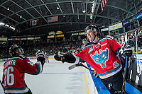KELOWNA, CANADA - OCTOBER 31: Tate Coughlin #18 and Cole Linaker #26 of the Kelowna Rockets celebrate a first period goal against the Lethbridge Hurricanes on October 31, 2015 at Prospera Place in Kelowna, British Columbia, Canada.  (Photo by Marissa Baecker/Shoot the Breeze)  *** Local Caption *** Tate Coughlin; Cole Linaker;