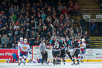 KELOWNA, CANADA - NOVEMBER 9: The Kelowna Rockets celebrate a goal against the Edmonton Oil Kings on November 9, 2013 at Prospera Place in Kelowna, British Columbia, Canada.   (Photo by Marissa Baecker/Shoot the Breeze)  ***  Local Caption  ***