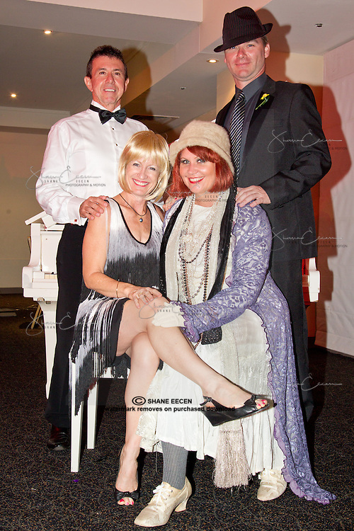 Carole & Mal Vandijk,Janzey & John  Pratt . Cancer Council Ball 2011. Photo Shane Eecen