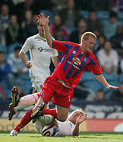 Photo: Lee Earle.<br /> Crystal Palace v Hull City. Coca Cola Championship. 06/10/2007. Hull's David Livermore sends Palace's Ben Watson flying with a hard challenge.