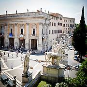 Le stataue dei Dioscuri sulla Piazza del Campidoglio a Roma..The Dioscuri statues on Campidoglio square