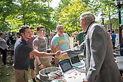 Ohio University President greets students at the Student Involvement Fair.