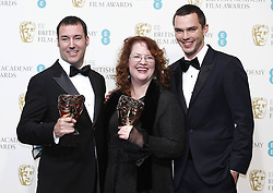 Best Animated Film winners Mark Andrews (L) and Brenda Chapman (C) for Brave , pose with presenter Nicholas Hoult in the press room of the BAFTA British Academy Film Awards 2013 at the Royal Opera House in London, Britain, Sunday February 10, 2013. Photo by Imago / i-Images. UK ONLY..