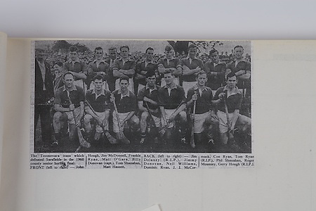 1960 county senior hurling final, Toomevara Team, front from left, John Hough, Jim McDonnell, Frankie Ryan, Matt O'Gara, Billy Donovan (capt), Tom Shanahan, Matt Hassett, back from left, Jim Delaney (RIP), Jimmy Donovan, Neil Williams, Dominic Ryan, J J McCormack, Con Ryan, Tom Ryan, (RIP), Phil Shanahan, Roger Mounsey, Gerry Hough (RIP),