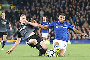 Everton forward Dominic Calvert-Lewin (29) and Burnley defender Ben Mee (6) challenge for the ball during the Premier League match between Everton and Burnley at Goodison Park, Liverpool, England on 3 May 2019.