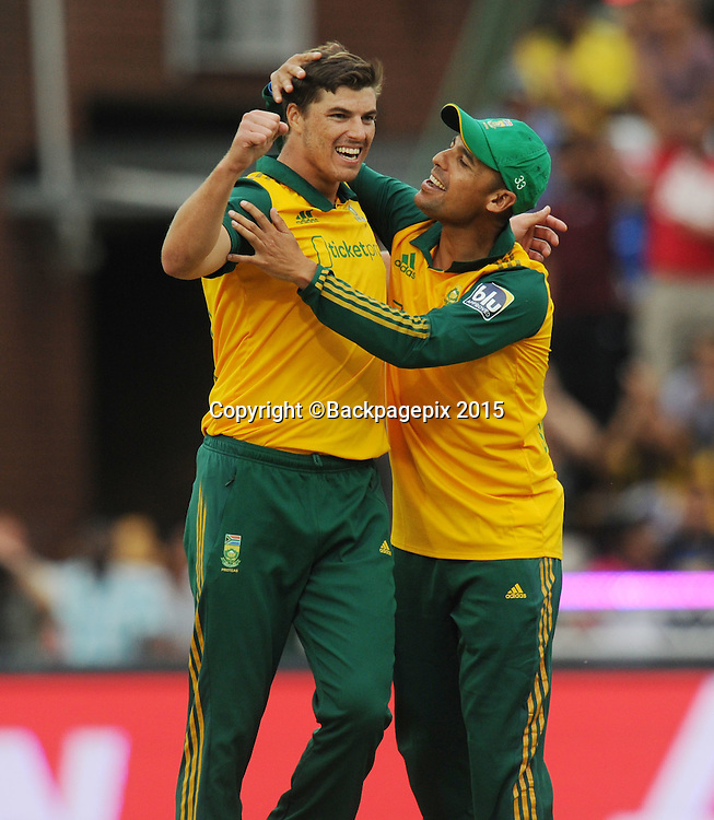 Marchant de Lange of South Africa celebrates a wicket of Dwayne Smith of the West Indies during the 2015 KFC T20 International Series match between South Africa and West Indies at Wanderers, Johannesburg on the 11 January 2015  ©Muzi Ntombela/BackpagePix