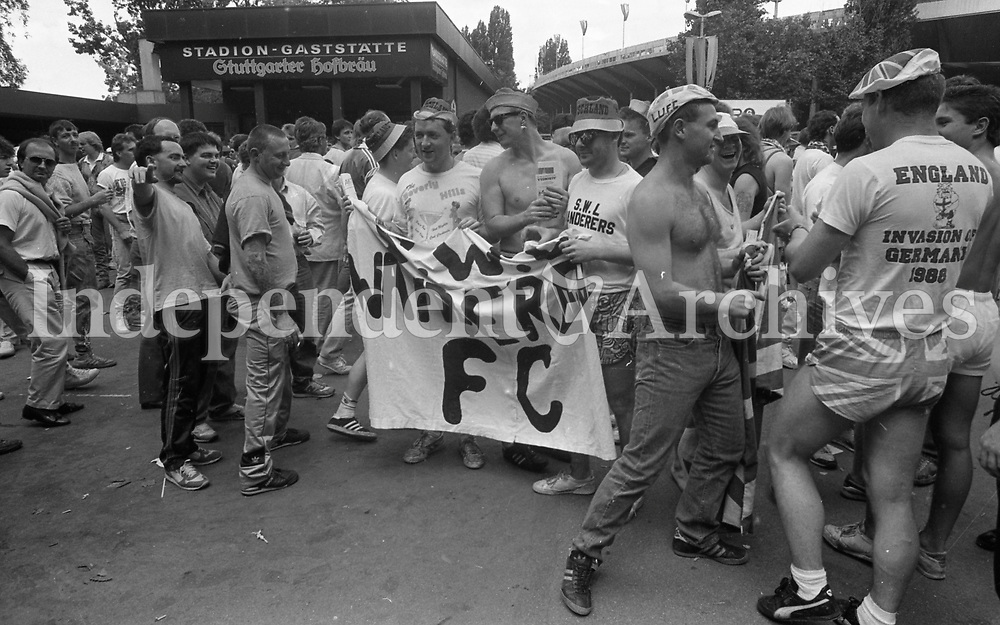 England fans at the Republic of Ireland v England game in the  European Championship Finals. Picture Jim O'Kelly 12 June 1988  (Part of the Independent Newspapers Ireland/NLI Collection).