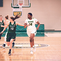 2nd year power forward, Angela Bongomin (14) of the Regina Cougars during the Women's Basketball Home Game on Fri Feb 01 at Centre for Kinesiology,Health and Sport. Credit: Arthur Ward/Arthur Images