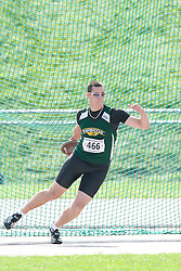 (Sherbrooke, Quebec---10 August 2008) Alexandre Gagn? competing in the youth boys discus at the 2008 Canadian National Youth and Royal Canadian Legion Track and Field Championships in Sherbrooke, Quebec. The photograph is copyright Sean Burges/Mundo Sport Images, 2008. More information can be found at www.msievents.com.