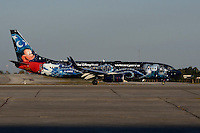 Dec 3, 2013; Orlando, FL, USA; The arrival of WestJet 1414, aka Magic Plane, at Orlando International Airport.