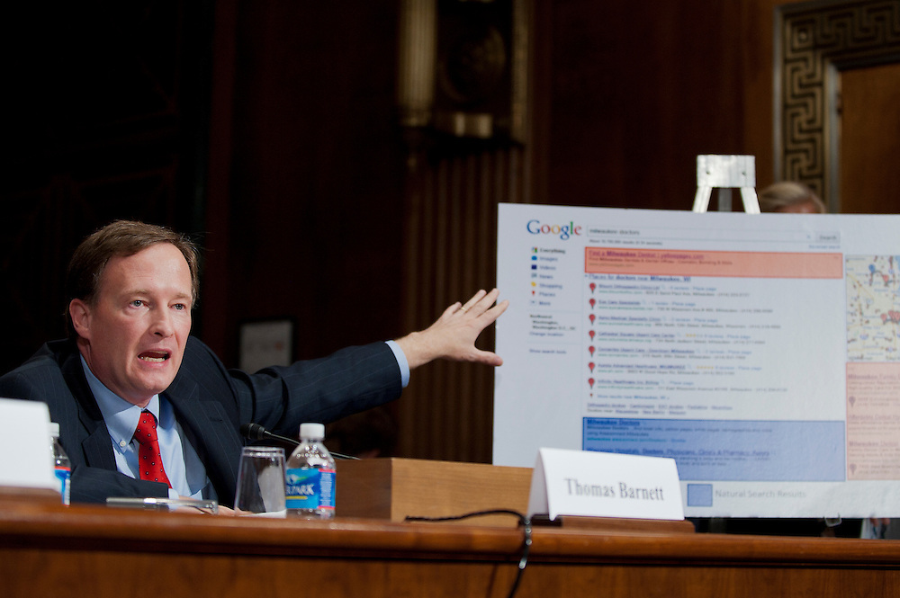"THOMAS BARNETT, partner at Covington & Burling LLP, Washington, D.C.  testifies before a Senate Antitrust, Competition Policy and Consumer Rights Subcommittee hearing on ""The Power of Google: Serving Consumers or Threatening Competition?"""