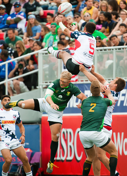 The United States lose to South Africa during the pool stage of the 2016 USA Sevens leg of the HSBC Sevens World Series at Sam Boyd Stadium  Las Vegas, Nevada. Saturday March 5, 2016.<br /> <br /> Jack Megaw for USA Sevens.<br /> <br /> www.jackmegaw.com<br /> <br /> 610.764.3094<br /> jack@jackmegaw.com