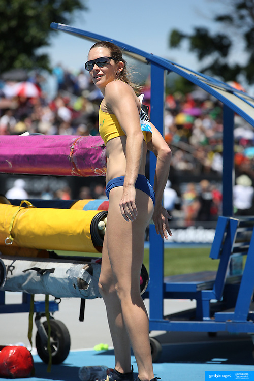 Fabiana Murer, Brazil, winning the Women's Pole Vault Competition during the Diamond League Adidas Grand Prix at Icahn Stadium, Randall's Island, Manhattan, New York, USA. 13th June 2015. Photo Tim Clayton