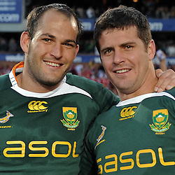 Fourie du Preez and Morne Steyn of South Africa during the British and Irish Lions tour 2009