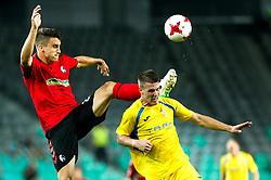 August 3, 2017 - Ljubljana, Slovenia, Slovenia - Lovro Bizjak NK Domzale battle for the ball during the UEFA Europa League Third Qualifying Round match between SC Freibur and NK Domzale at Arena Stozice on 3 rd August , 2017 in Ljubljana, Slovenia. (Credit Image: © Damjan Zibert/NurPhoto via ZUMA Press)