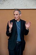Roma 24 Luglio 2012.Il saluto della Caritas a Don Angelo Bergamaschi.Il vicedirettore della Caritas romana lascia il lavoro dopo oltre 30 anni di servizio..Don Matteo Zuppi, vescovo ausiliare della diocesi di Roma.