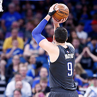 25 February 2017: Orlando Magic center Nikola Vucevic (9) is seen at the free throw line during the Orlando Magic 105-86 victory over the Atlanta Hawks, at the Amway Center, Orlando, Florida, USA.