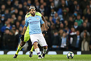 Manchester City forward Sergio Aguero (10) during the Champions League match between Manchester City and Dinamo Zagreb at the Etihad Stadium, Manchester, England on 1 October 2019.