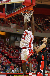 08 December 2007: Dinma Odiakosa makes some jam. The Cincinnati Bearcats take a loose against the Illinois State Redbirds 62-52 on Doug Collins Court in Redbird Arena on the campus of Illinois State University in Normal Illinois.