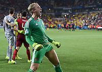 FUSSBALL: UEFA  U21-EUROPAMEISTERSCHAFT  2015  FINALE Schweden - Portugal     30.06.2015 Torwart Patrik Carlgren (Schweden) bejubelt den Sieg ueber Portugal und jubelt somit als Europameister