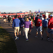 Ryder Cup 2016. Day Three. Fans arriving for the final day of the Ryder Cup tournament at Hazeltine National Golf Club on October 02, 2016 in Chaska, Minnesota.  (Photo by Tim Clayton/Corbis via Getty Images)