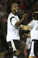 Photo: Pete Lorence.<br />Derby County v Queens Park Rangers. Coca Cola Championship. 13/03/2007.<br />Darren Moore celebrates after eqaulising late in the second half.