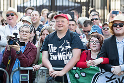 "© Licensed to London News Pictures . 06/05/2018. London, UK. Crowds at the demonstration outside Downing Street on Whitehall . Supporters of alt-right and anti-Islam groups, including Generation Identity and the Democratic Football Lads Alliance, demonstrate at Whitehall in Westminster, opposed by anti-fascists. Speakers billed in the ""Day for Freedom"" include former EDL leader Tommy Robinson, Milo Yiannopoulos, youtuber Count Dankula (Markus Meechan), For Britain leader Anne Marie Waters, UKIP leader Gerard Batten, Breitbart's Raheem Kassam and Lauren Southern. The event was originally planned as a march to Twitter's HQ in protest at their banning of Robinson and the Home Office's ban on Martin Sellner and Brittany Pettibone entering the UK, in what protesters describe as limits being imposed on free speech. Photo credit: Joel Goodman/LNP"