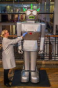 Humanoid robot, 'Cygan', built Dr Piero Fiorito, Italy,<br /> 1957. Cygan's builder was a keen aero-modeller, and he<br /> designed the robot, weighing almost 500kg and driven by<br /> 13 electric motors, to be operated by radio control. Cygan's early career was glamorous. He danced,<br /> performed at shows, and crushed cans for delighted<br /> onlookers. But as his career waned, he found himself<br /> rusting out of doors, before being saved and returned to<br /> his original, working condition - The Science Museum's new Robots exhibition, opening in February 2017, will explore this very human obsession to recreate ourselves, revealing the remarkable 500-year story of humanoid robots. Featuring a unique collection of over 100 robots, from a 16th-century mechanical monk to robots from science fiction and modern-day research labs, this exhibition will enable visitors to discover the cultural, historical and technological context of humanoid robots. Visitors will be able to interact with some of the 12 working robots on display. Among many other highlights will be an articulated iron manikin from the 1500s, Cygan, a 2.4m tall 1950s robot with a glamorous past, and one of the first walking bipedal robots