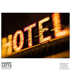 Neon sign reading 'Hotel' at Fremont Street, Las Vegas, Nevada, USA.<br />