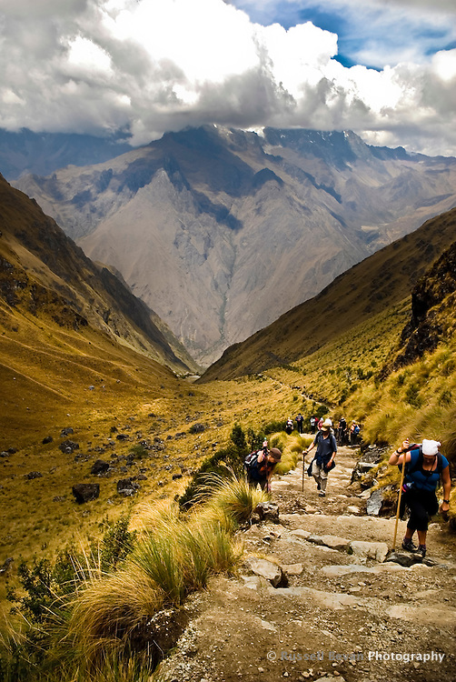 Trekkers on the Inca Trail make their way up towards Dead Woman's Pass in the Peruvian Andes