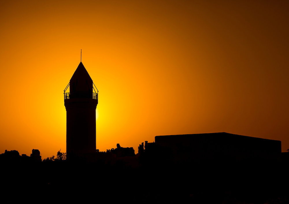 Suakin, Sudan, the renovated Hanafi Mosque at sunset.