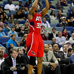 January 29, 2012; New Orleans, LA, USA; Atlanta Hawks shooting guard Willie Green (33) shoots against the New Orleans Hornets during the second half of a game at the New Orleans Arena. The Hawks defeated the Hornets 94-72.  Mandatory Credit: Derick E. Hingle-US PRESSWIRE