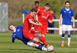 LIVERPOOL, ENGLAND - Saturday, April 9, 2016: Liverpool's Adam Phillips in action against Everton's Jack Kiersey during the FA Premier League Academy match at Finch Farm. (Pic by David Rawcliffe/Propaganda)
