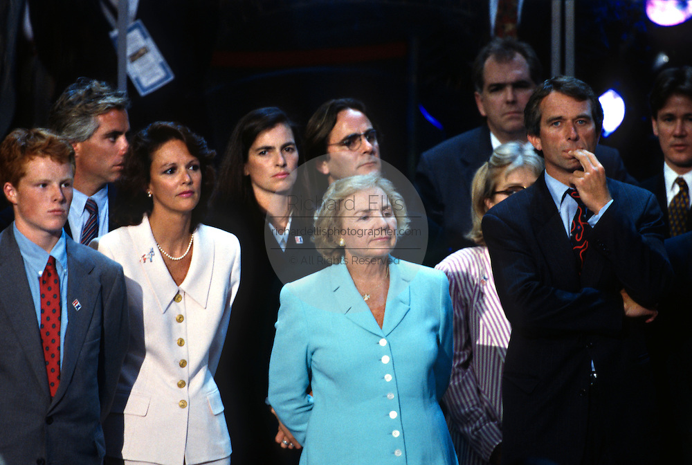 Members of the Kennedy family listen as U.S Senator Ted Kennedy speaks at the 1996 Democratic National Convention August 29, 1996 in Chicago, IL.