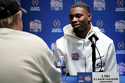 K'Lavon Chaisson #18 of the LSU Tigers speaks with the media at Media Day on Thursday, Dec. 26, in Atlanta. LSU will face Oklahoma in the 2019 College Football Playoff Semifinal at the Chick-fil-A Peach Bowl. (Paul Abell via Abell Images for the Chick-fil-A Peach Bowl)