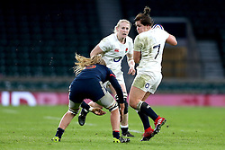 Marlie Packer of England runs into a tackle - Mandatory by-line: Robbie Stephenson/JMP - 04/02/2017 - RUGBY - Twickenham - London, England - England v France - Women's Six Nations